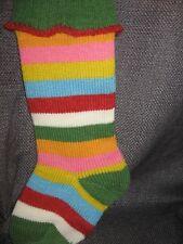Vintage Christmas stocking wool blend rainbow large stocking stuffer handmade?