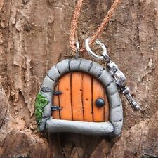 Hand made orange fairy door pendant with tiny key on brown cord #fh3