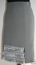 "NEW PAOLINA Paris Skirt UK8-10/T2 Silver Grey Viscose Jersey W26""/L21"" Stretchy"