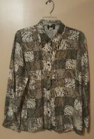 Pre-Owned Women's Grey Stunt Silk Button Down Blouse (M)