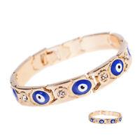 Women Girl Turkish Jewelry Charm Evil Eye Chain Bracelet Enamel Lucky Protection