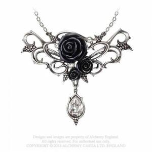 ALCHEMY ENGLAND Gothic Steampunk Swarovski Pendant Chain NECKLACE Bacchanal Rose