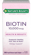 NATURE'S BOUNTY BIOTIN SOFTGELS 10000 MCG 90 CT - new