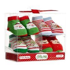 Little Me Baby Boy Girl Layette Christmas Santa Bear Booties Sock Gift Set 0-12M