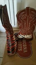 Nocona Squared Toe Boots Beige & Black Tiger Size 9.5B pre-owned