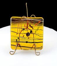 "STUDIO ART GLASS AMBER FUSED MULTI COLORED ABSTRACT SQUARE 4 1/2"" PLAQUE & STAND"