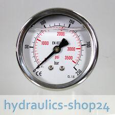 Manometer Glyzerin gefüllt, 0-250 bar, Hydraulik, Glycerin, Anschluss hinten