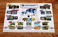 Nintendo 64 Ad Flyer Mini Poster Bomberman Hero Yoshi's Story F-Zero X WarioLand