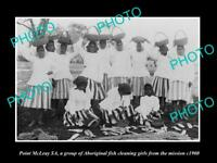 8x6 HISTORIC PHOTO OF POINT MCLEAY GROUP OF ABORIGINAL FISH CLEANING GIRLS 1900