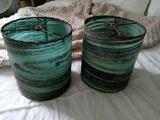 Pair of Vintage Mid-Century Fiberglass Lamp Shades Green Black Gold Swirls