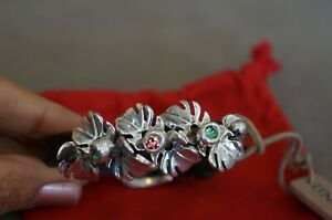 "NWT Uno De 50 Pink Mint Elements Crystal Silver Leaf Leather Bracelet 6.5-7.5"""