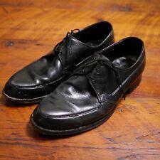 Vintage 1960s Black Leather Sole Dapper Dress Oxfords Mens Shoes 7D 40