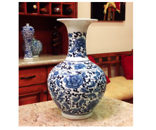 Classic Blue and White Floral Traditional Porcelain Decorative Vase. Traditional