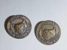 pair of vintage BOBCAT BSA cub scout USA brass pin brooch badges