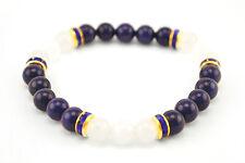Handmade Semi Precious Stone Bracelet Lazurite Nephrite Beads Valentine's Gift