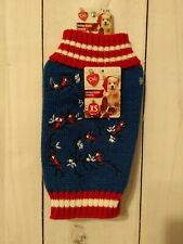 Dog Knit Sweater XS With Embroidered Red Cardinals on Blue NEW