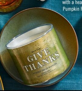BATH & BODY WORKS PUMPKIN PECAN WAFFLE *GIVE THANKS* 3 WICK CANDLE THANKSGIVING