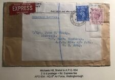 1944 Michaels England Express Mail Economy Label Cover To APO 634 US Army