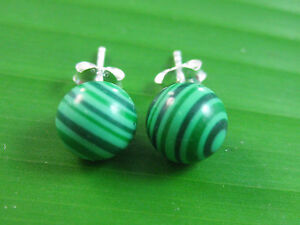 100% REAL 925 sterling silver MALACHITE 7mm BALL Studs Earring Women Girl Teen