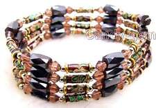 "SALE Purple Cloisonne Hematite & Black Magnetic Beads 29"" Bracelet-nec5174"