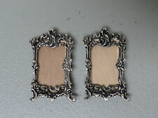 RARE VINTAGE DUTCH .833 SILVER MINIATURE DOLL HOUSE PAIR of SMALL WALL MIRRORS
