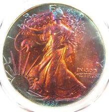 1987 Toned American Silver Eagle Dollar $1 ASE - PCGS MS68 - Rainbow Toning Coin