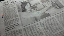 RUPERT HINE. Times Obituary. FOLK MUSICIAN/RECORD PRODUCER UK newspaper cutting