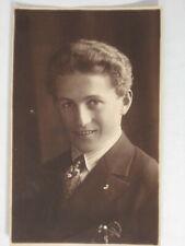 PC55 original vintage postcard RPPC studio portrait man fancy hair Austria ?