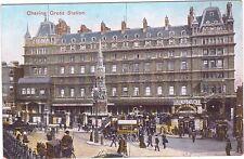 Postcard Charing Cross Station Bureau Change American Exchange 16 Strand Horses