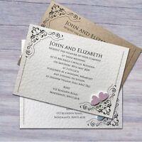 25 Wedding Invitations Evening Invites Personalised & Handmade *40 Colours*