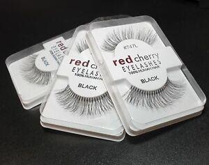 Red Cherry Black False Eyelashes Handmade 100% Human Hair