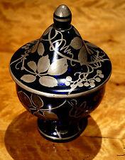 Vintage Bohemian Czech Blue Glass With Silver Gilt
