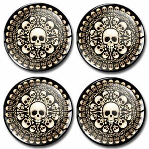 50mm Coprimozzo Adesivi Copricerchi Tappi Ruote Cerchi Cranio Teschio Skull Logo