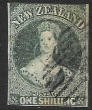 More details for new zealand 1857 1s blue-green, fu imperf. sg 17. cat.£1800.