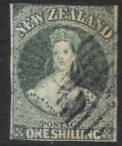 NEW ZEALAND 1857 1s blue-green, FU imperf. SG 17. Cat.£1800.
