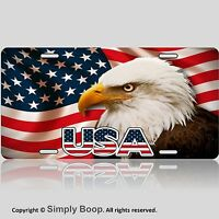 CUSTOM LICENSE PLATE AMERICAN FLAG AND EAGLE USA 1a