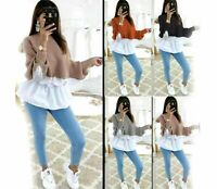 New Ladies Womens Layered Knitted Ribbed Peplum Shirt Jumper Sweater Blouse Top