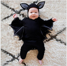 Toddler Baby Boys Girls Halloween Cosplay Bat Costume Romper Hat Outfits Set