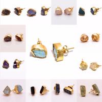Raw Gemstone Stud Earrings, Gold Plated Brass Fashion Women Jewelry Gift BSE