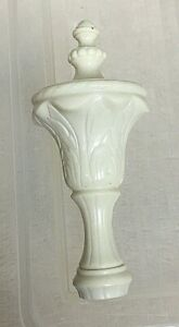 "Vintage White Plastic Finial  1/4"" Diameter Screw 3.5"" Tall"
