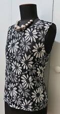 Immaculate Size 8 Seed Black & White Nylon/Viscose Floral LaceTop- 44cm Bust