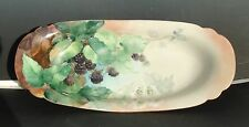 Antique Porcelain T&V Limoges France Long Platter BlackBerries Artist Signed 14""