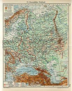 1920s EUROPEAN RUSSIA CRIMEA UKRAINE BELARUS Antique Map