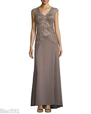 Sz 8* Sue Wong Open Back Beaded Illusion Gown Dress Wedding Bridal Prom Taupe