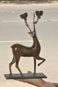 Old Iron Handcrafted Deer/ Reindeer Figurine Unique Candle Stand