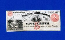 1862 5c BANK of WHITESTOWN NEW YORK NICE CRISP RARE CIVIL WAR NOTE