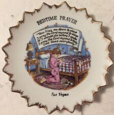 """VTG Plate Bedtime Prayer Little Girl Gold Trim 5"""" Las Vegas Souvenir Japan"""