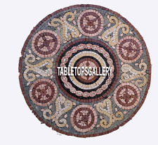 24'' Marble Black Coffee Center Table Top Mosaic Inlay Dining Room Decor H3902
