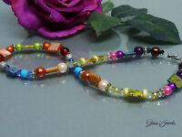 Glass Jewels Extravagante Bunte Kette Collier Halskette Perlmutt, Strass #A014