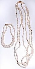Freshwater SEED PEARL Necklace Bracelet SET Multi Strand 14K Gold Beads Clasp